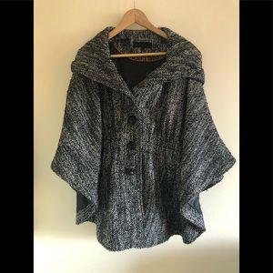 Steve Madden black white tweed hooded cape coat